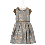 Wollkleid Brokat Blumen bronze+Samt
