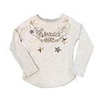 T-Shirt Flügelprint+Strass+Pailletten
