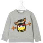Sweatshirt Monsterapplikation (4-7J)