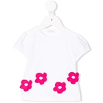 T-Shirt Blumen-Applikation in pink