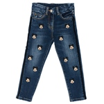 Jeans Mickey-Stickerei + Bommel (2-7J)