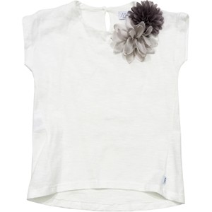 T-Shirt Blumen-Applikation in rosa