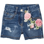 Jeansshort Rosen-Applikation used(8-12J)